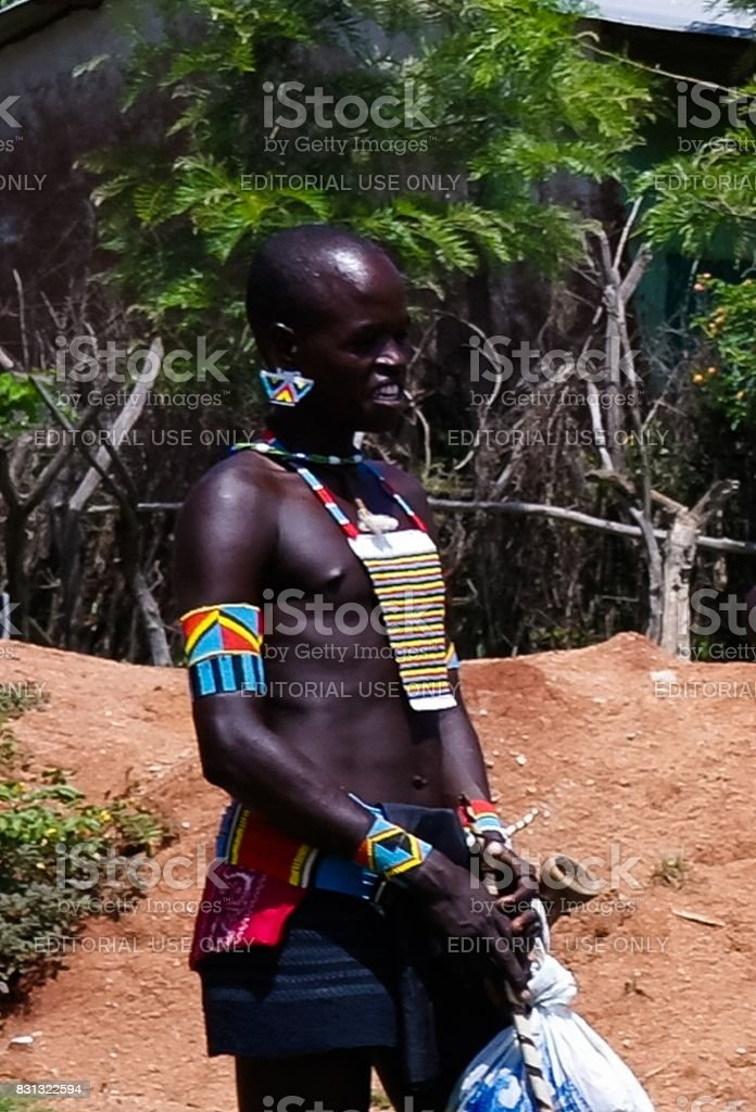 Portrait of hamer tribe man, Omo valley, Ethiopia stock photo