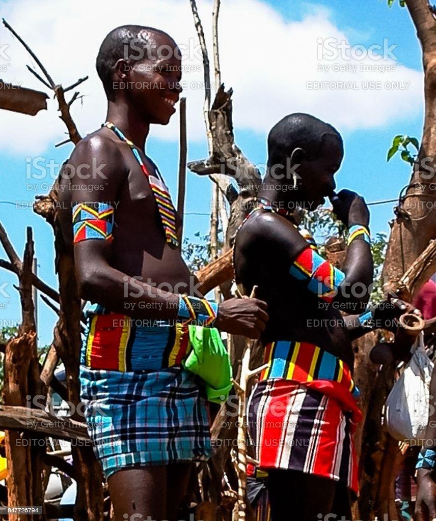 Portrait of hamer tribe men, Omo valley, Ethiopia stock photo
