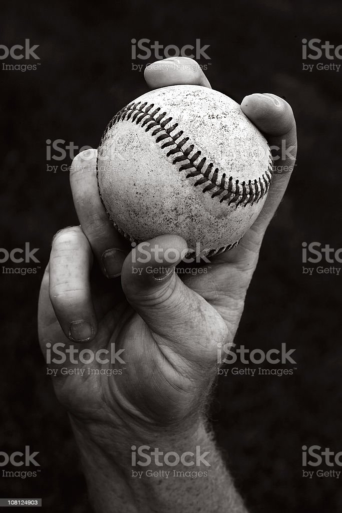 Portrait of Hand Holding Baseball, Black and White stock photo