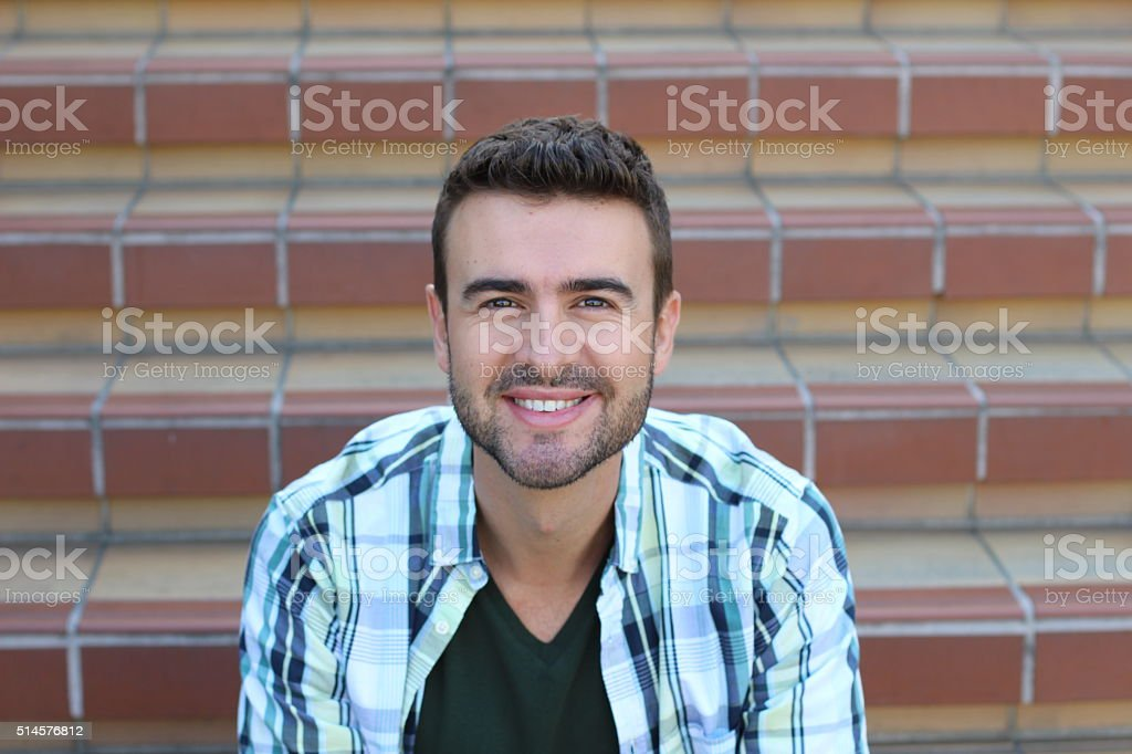 Portrait of handsome 30-year-old man stock photo