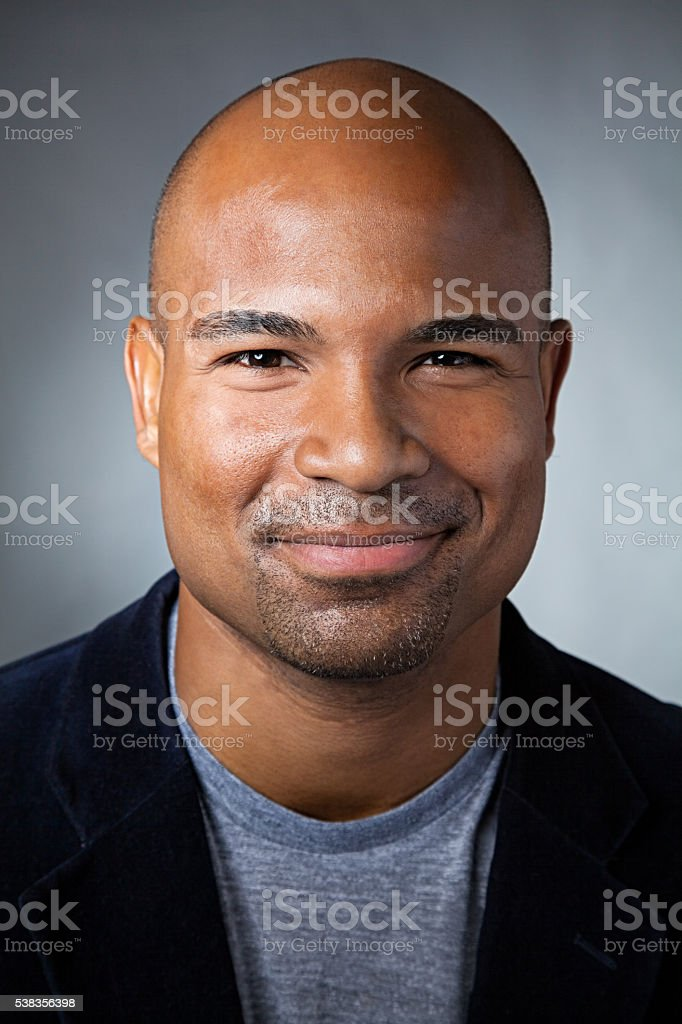 Portrait of handsome African American man stock photo