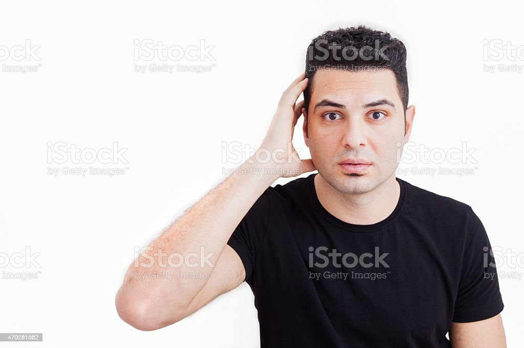 Portrait of handsome attractive surprised young man stock photo