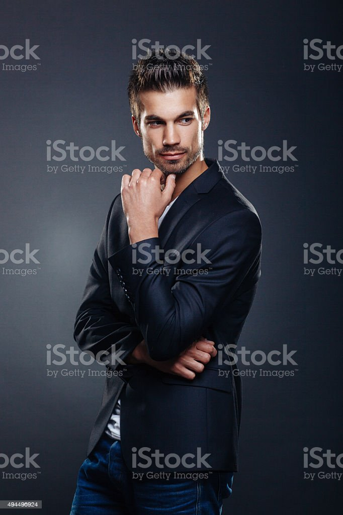 Portrait of handsome man in a studio stock photo