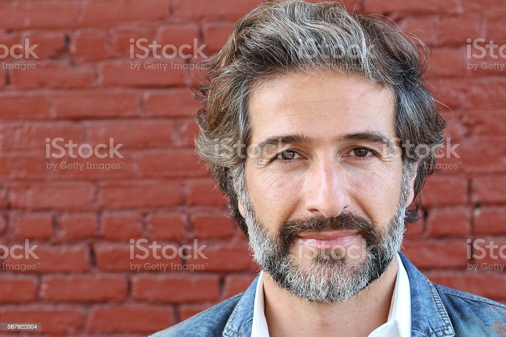 Portrait of handsome mature natural man stock photo