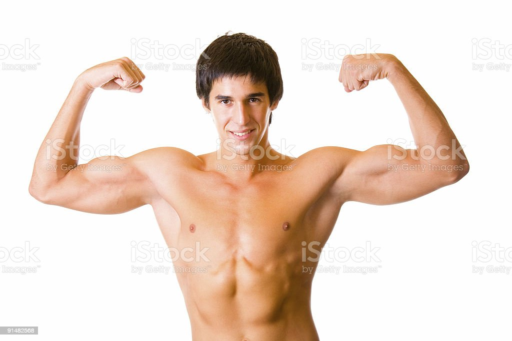 Portrait of handsome muscular young man flexing bicepses, isolated royalty-free stock photo