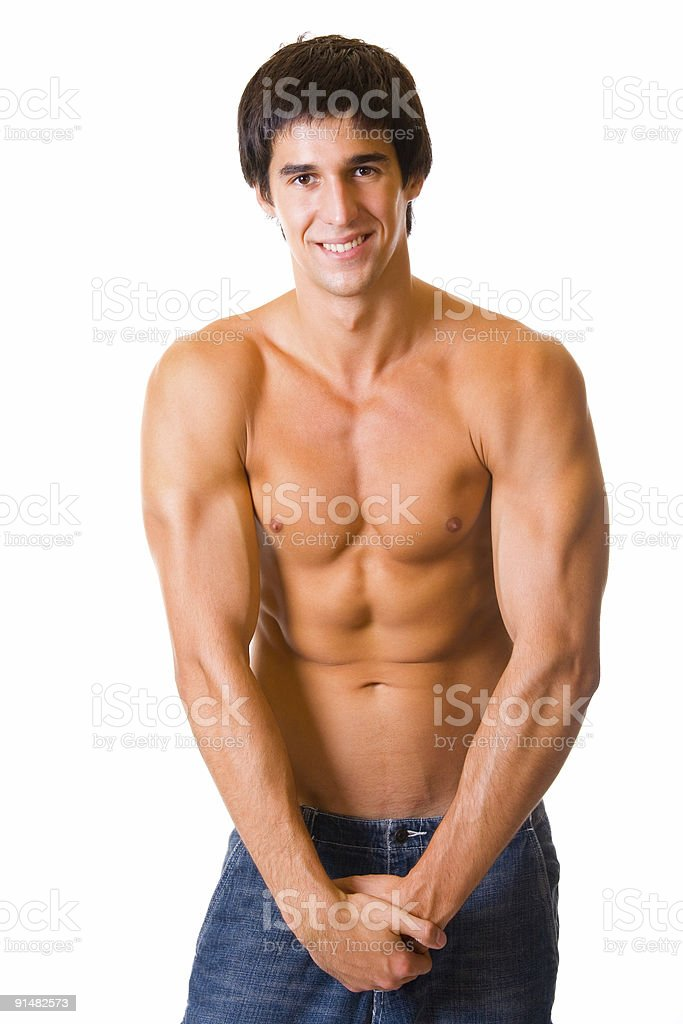 Portrait of handsome muscular young man, isolated on white royalty-free stock photo