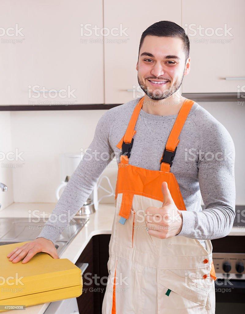 Portrait of handsome skilled workman stock photo