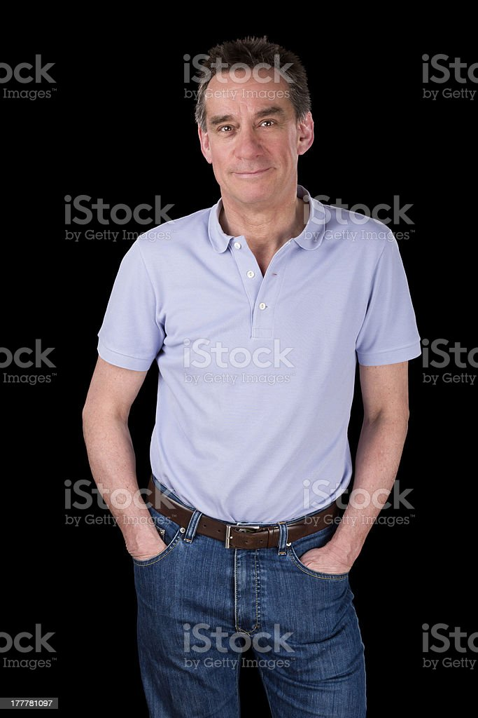Portrait of Handsome Smiling Happy Man Hands in Pockets royalty-free stock photo