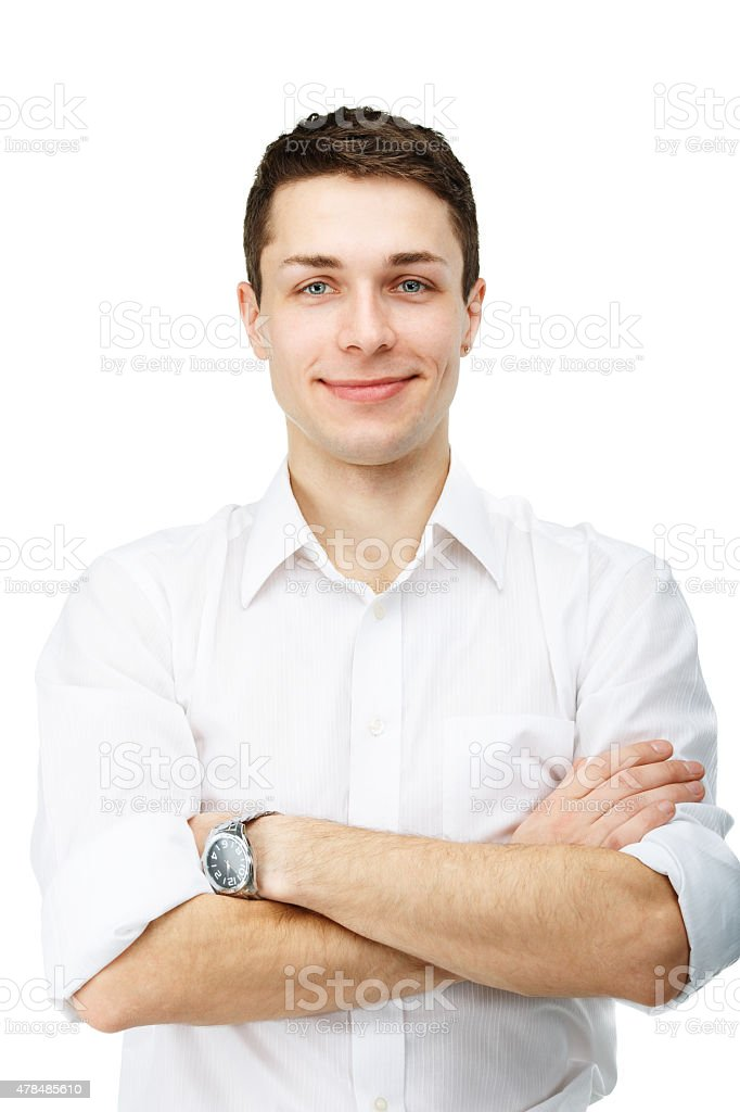 portrait of handsome smiling man on white background stock photo