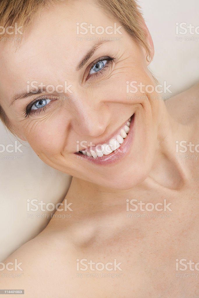 portrait of happy and beautiful mature woman royalty-free stock photo