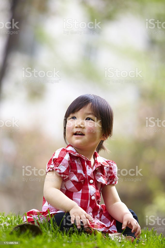 portrait of happy asian little girl outdoor royalty-free stock photo