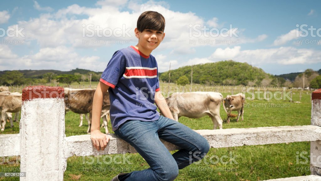 Portrait Of Happy Boy In Farm With Cows In Ranch stock photo