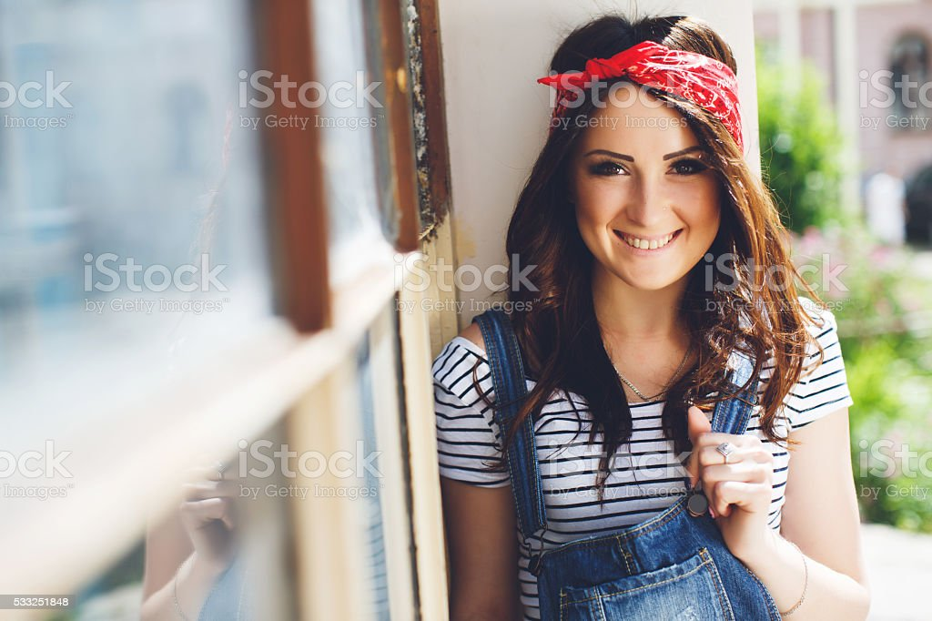 portrait of happy brunette girl stock photo