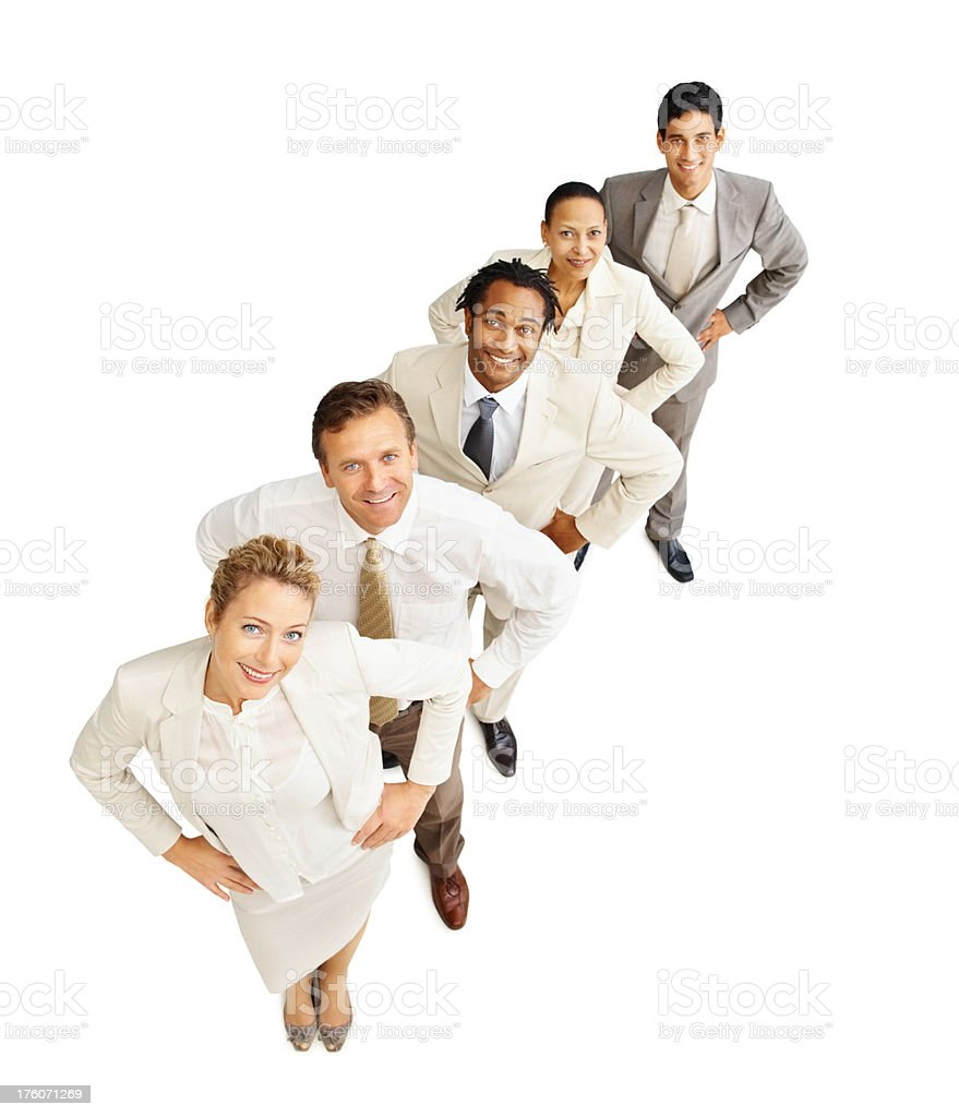 Portrait of happy business colleagues looking up royalty-free stock photo