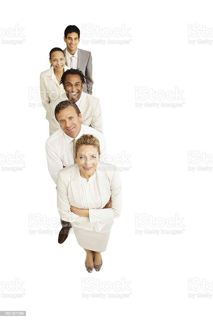 Portrait of happy business colleagues standing in a line royalty-free stock photo
