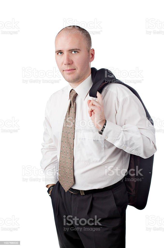 Porträt von glücklich Geschäftsmann stehend gegen isoliert Weißer Hintergrund Lizenzfreies stock-foto