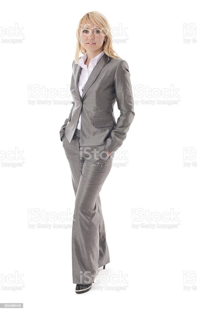 Portrait of happy businesswoman in formal dress stock photo