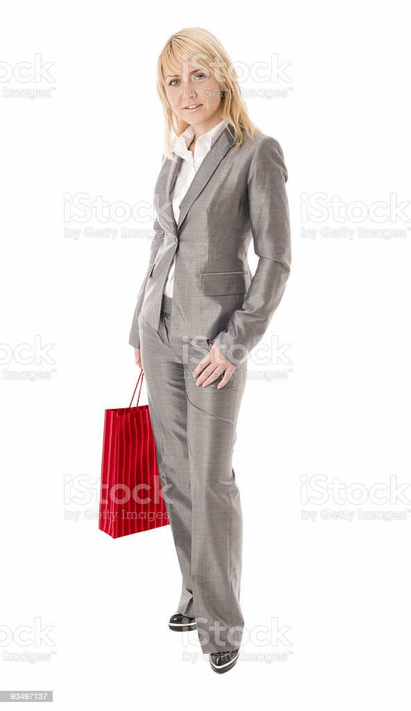 Portrait of happy businesswoman with red bag royalty-free stock photo
