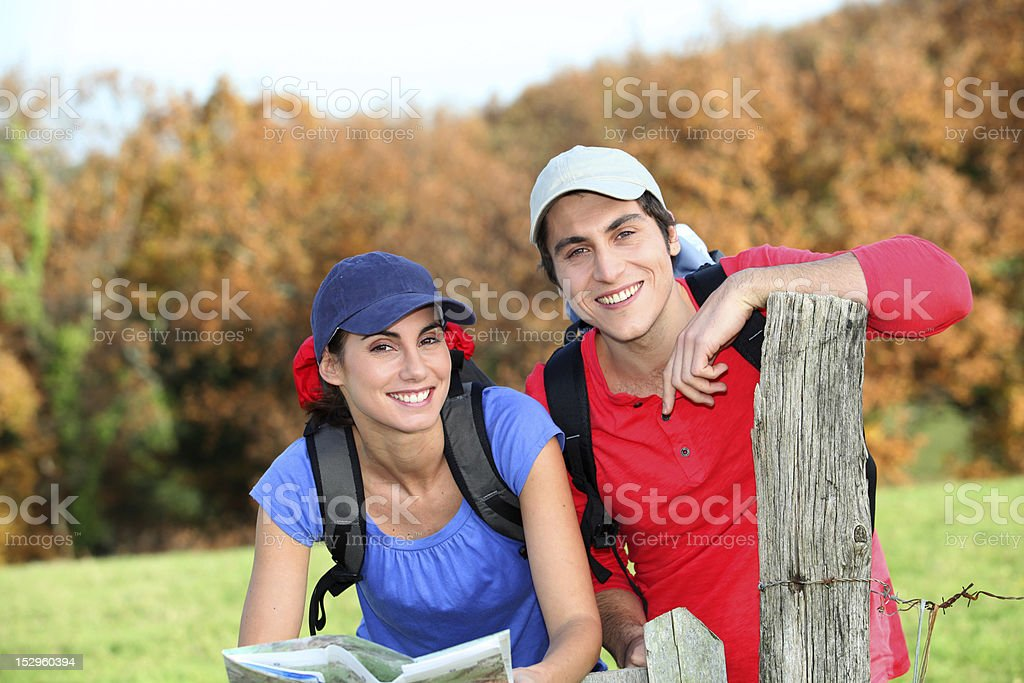 Portrait of happy couple on a rambling day royalty-free stock photo