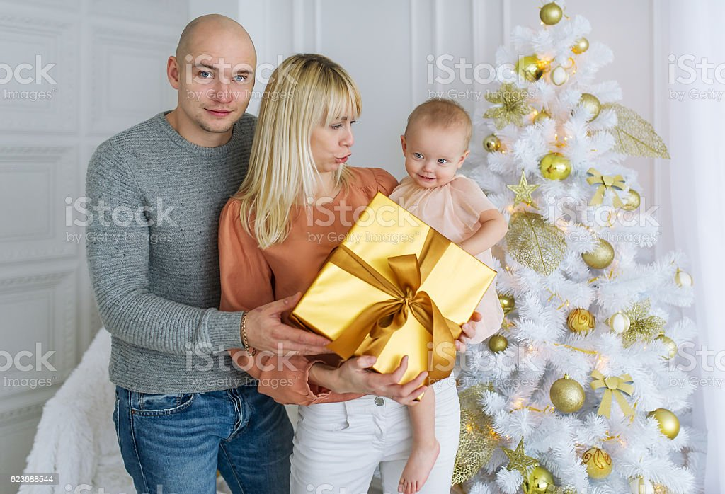 Portrait of happy family on Christmas day stock photo