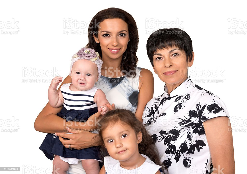 Portrait of happy family .Three generation.. Isolated stock photo