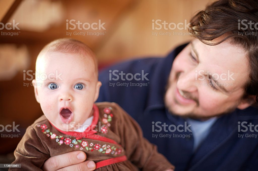 Portrait of happy father and baby daughter royalty-free stock photo
