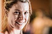Portrait of happy female athlete
