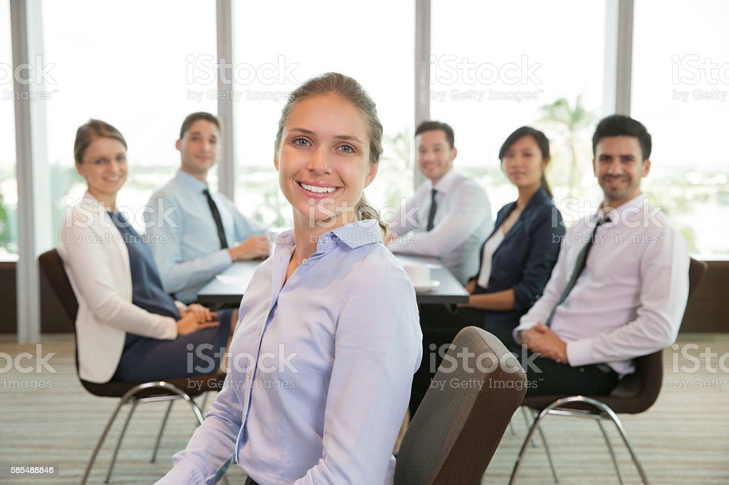Portrait of Happy Female Executive Manager stock photo