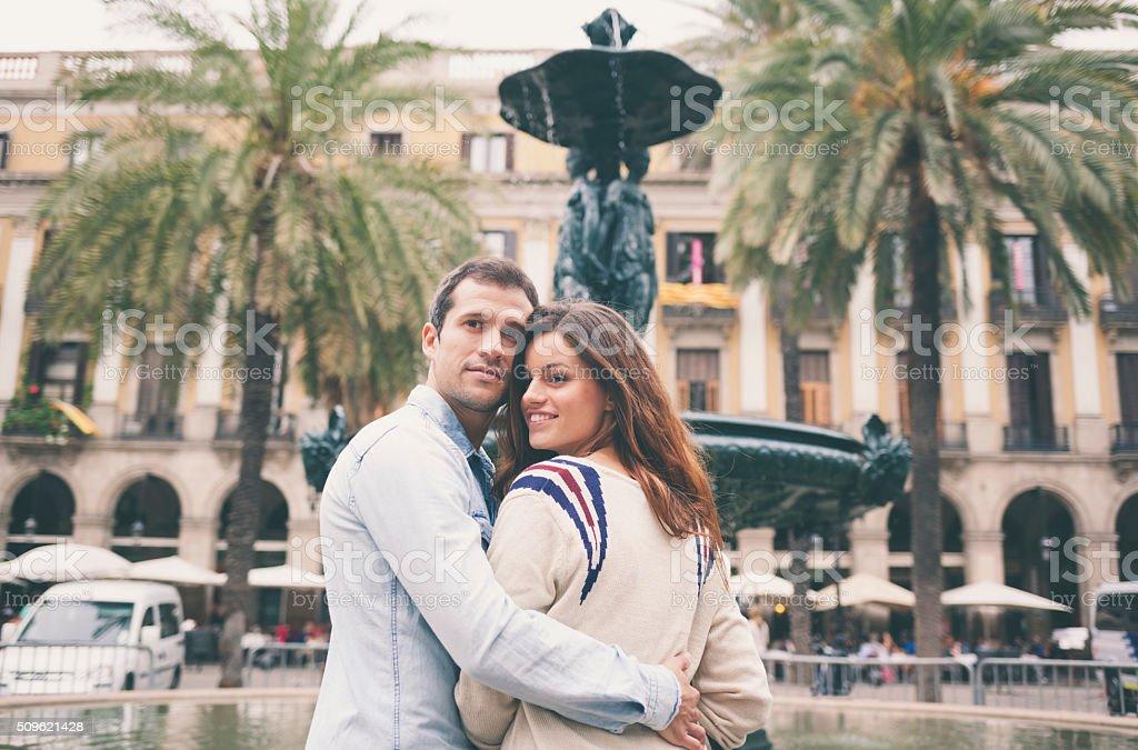 Portrait of happy Hispanic couple in Barcelona (Barcelona, Catalonia, Spain). stock photo