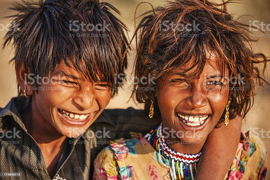 Portrait of happy Indian children, desert village royalty-free stock photo