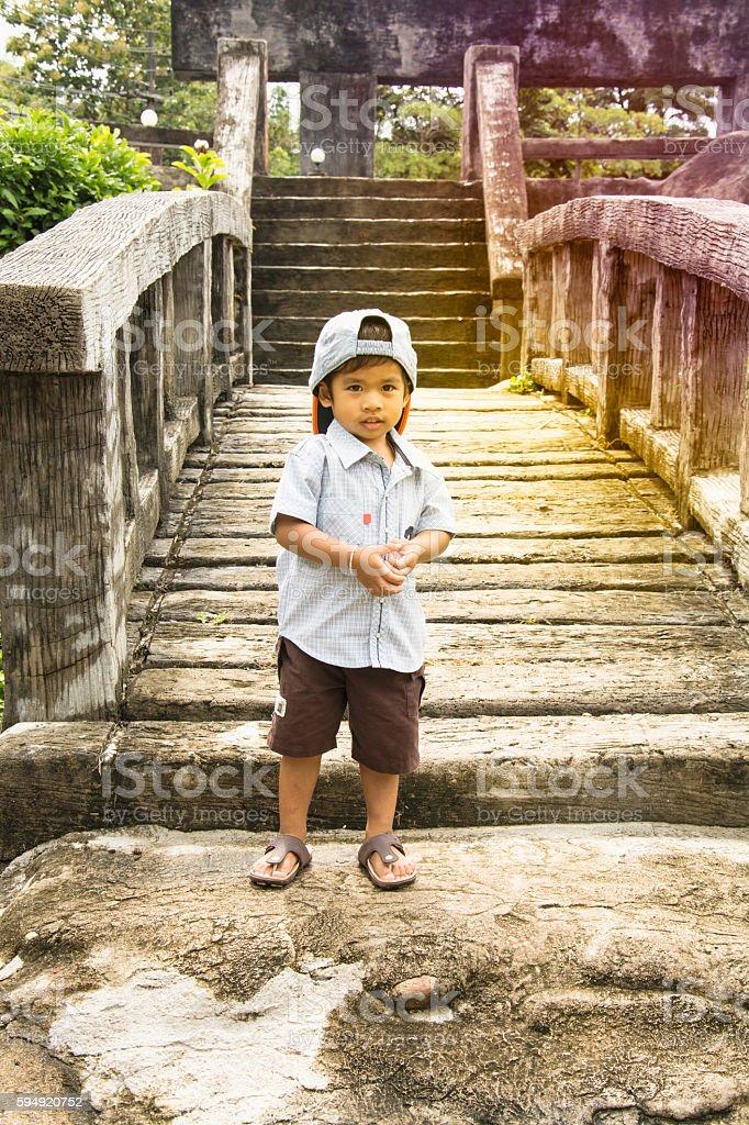 Portrait of happy joyful beautiful little boy outdoor royalty-free stock photo