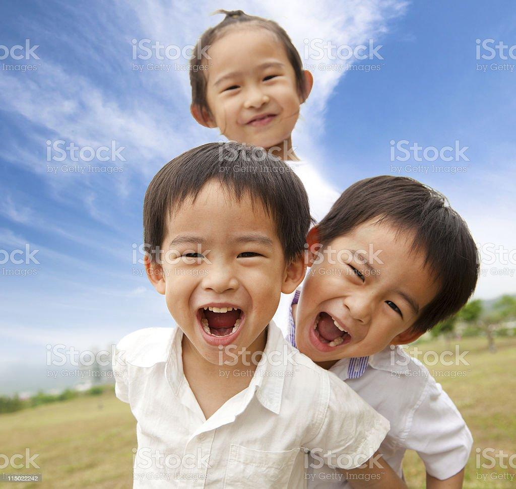 Portrait of happy kids outdoor stock photo