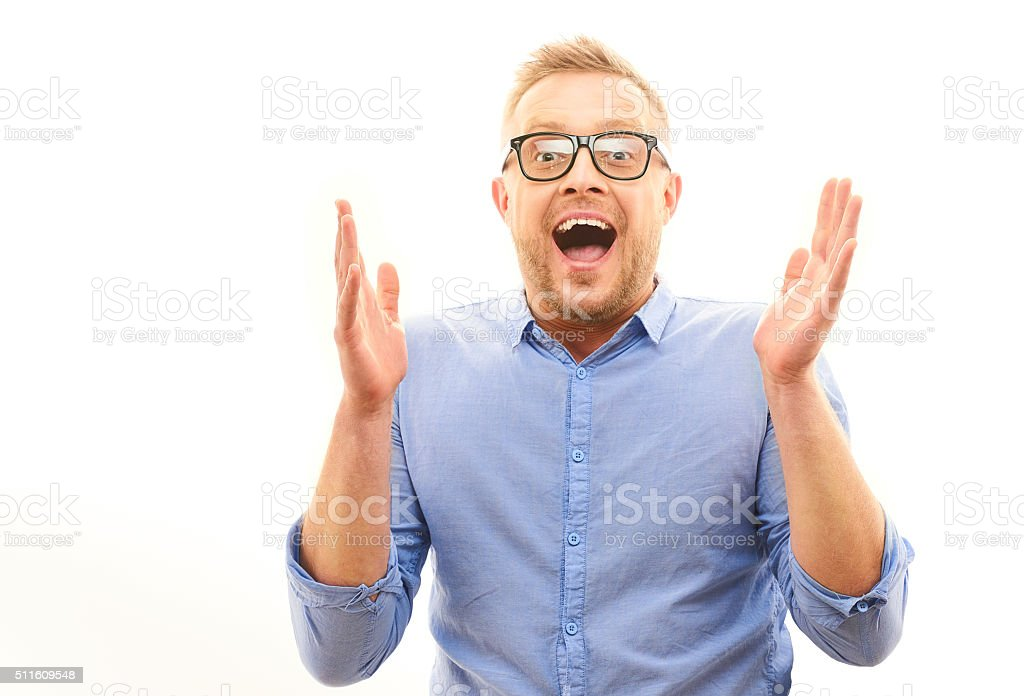 Portrait of  Happy man screaming and welcomes someone isolated stock photo