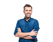 Portrait of happy man wearing jeans shirt