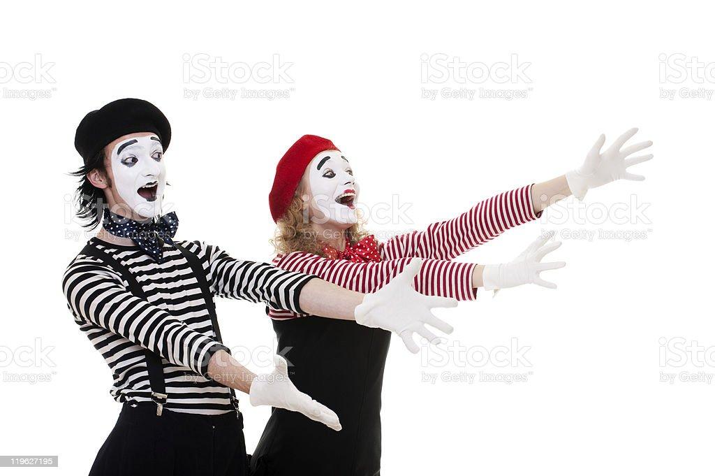 portrait of happy mimes stock photo