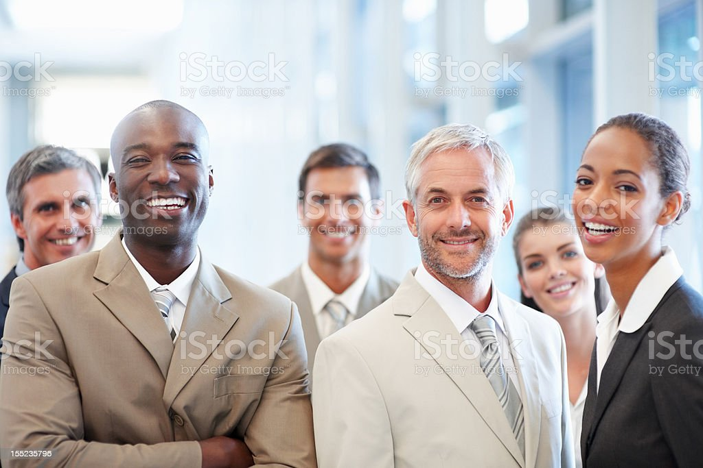 Portrait of happy multiracial business colleagues royalty-free stock photo