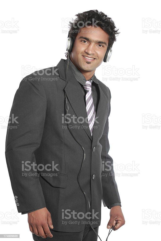 Portrait of happy operator royalty-free stock photo