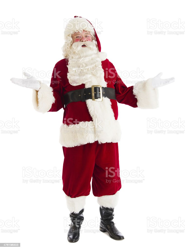 Portrait Of Happy Santa Claus Gesturing royalty-free stock photo
