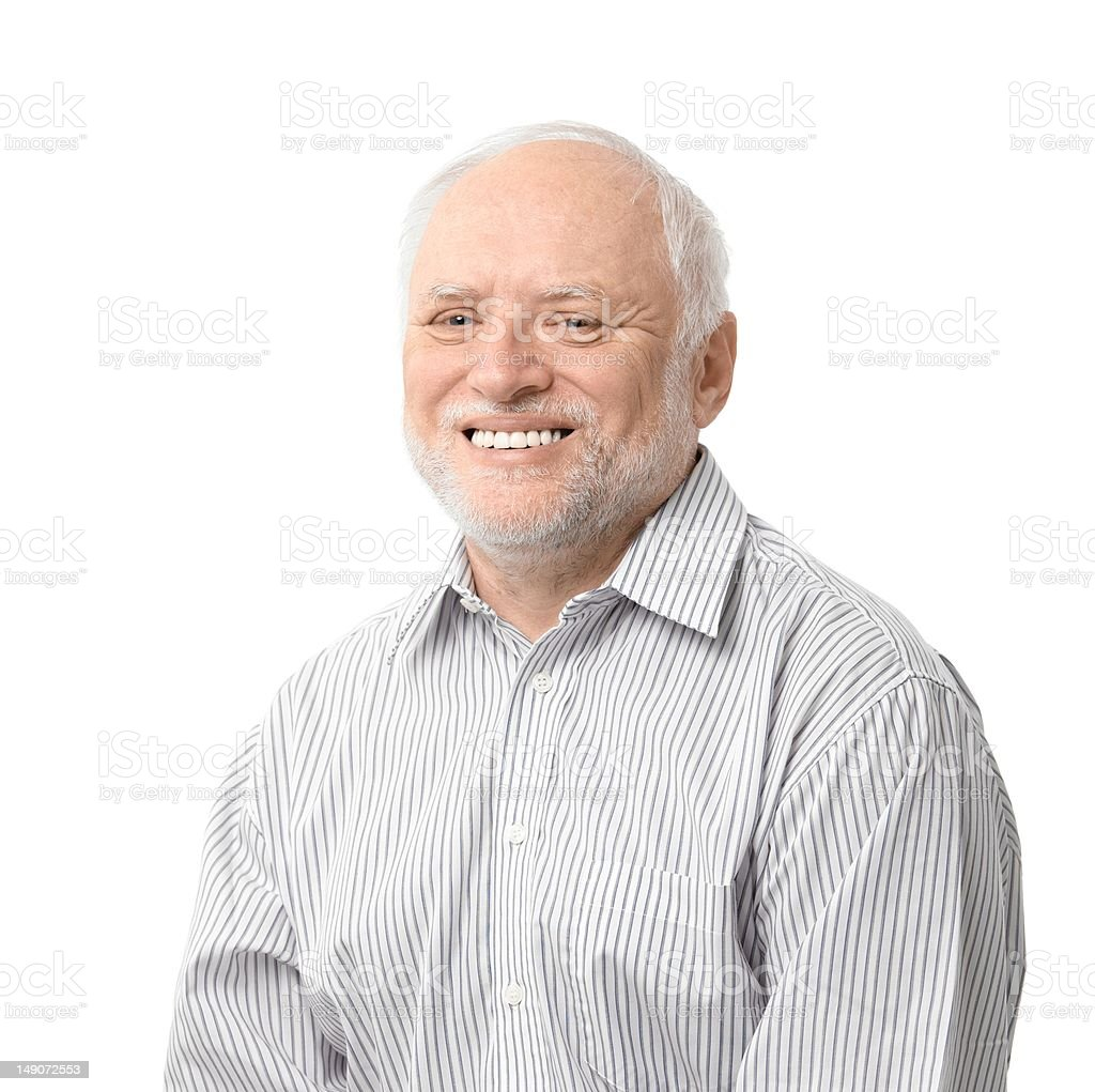 Portrait of happy senior man stock photo