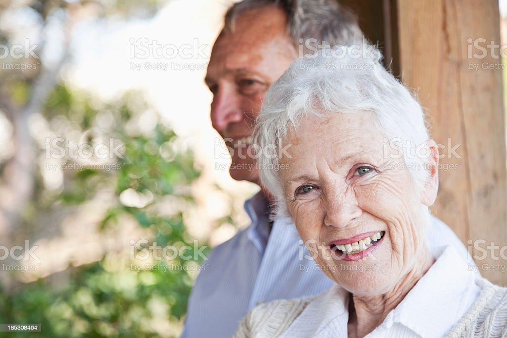 Portrait of happy senior woman stock photo