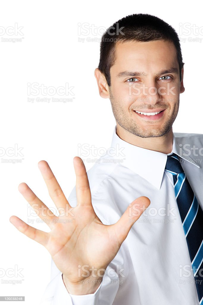 Portrait of happy smiling businessman showing five fingers, isolated stock photo