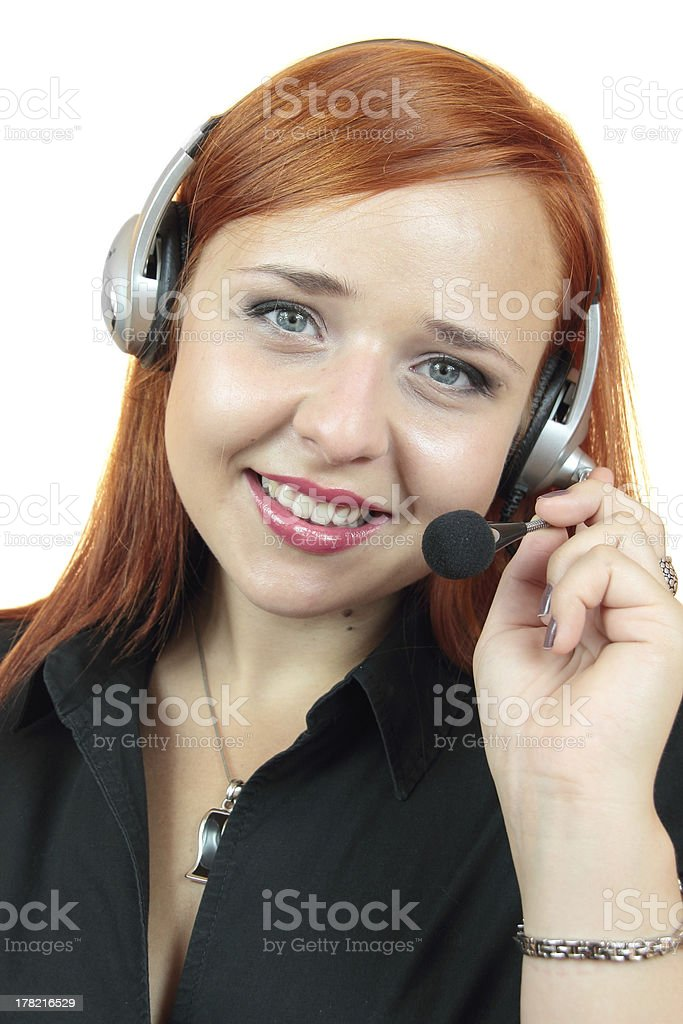 Portrait of happy smiling cheerful support phone operator in headset. royalty-free stock photo
