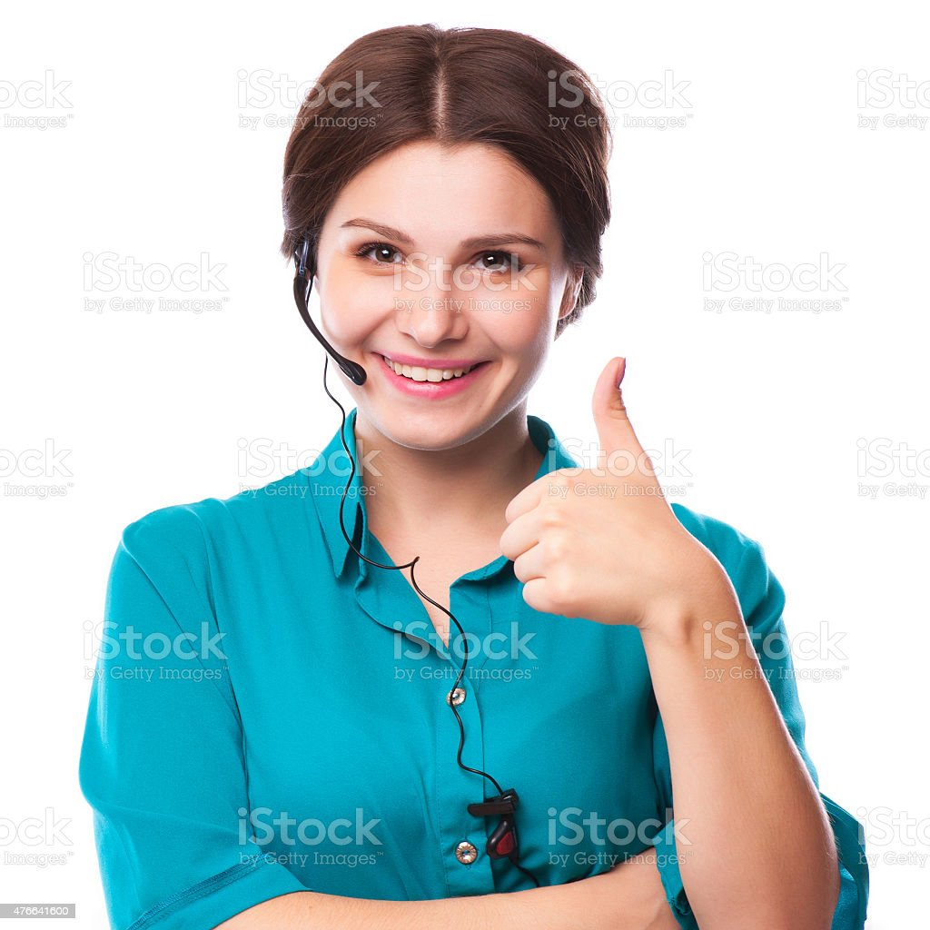 Portrait of happy smiling cheerful young support phone operator stock photo