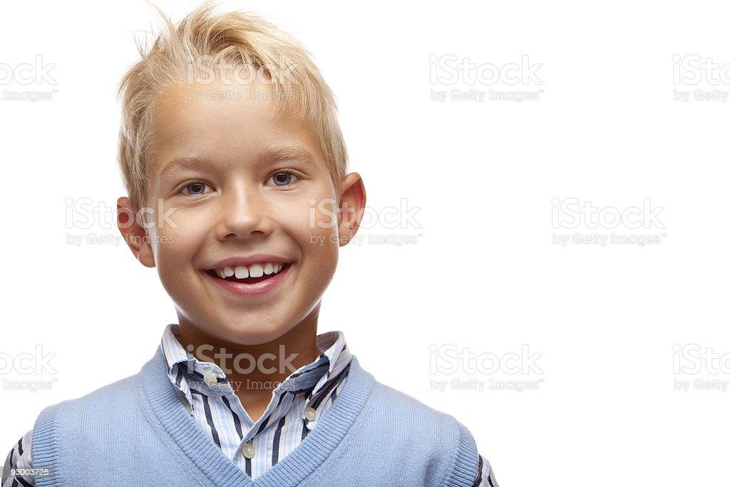 Portrait of happy smiling child (boy) stock photo
