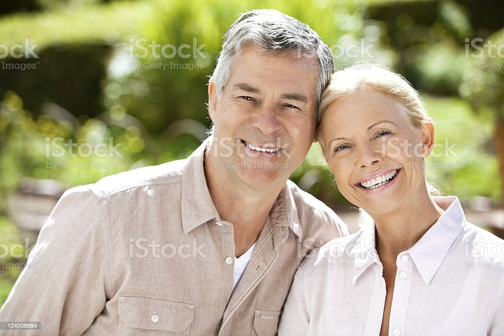 Portrait of happy smiling couple outdoors royalty-free stock photo