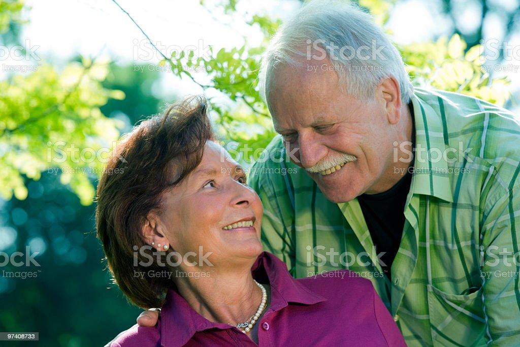 Portrait of Happy smiling senior couple outdoors (XL) royalty-free stock photo