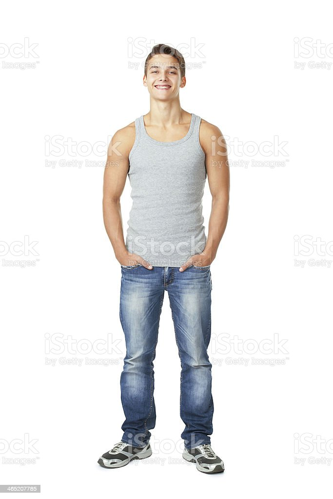 Portrait of  happy smiling young man stock photo