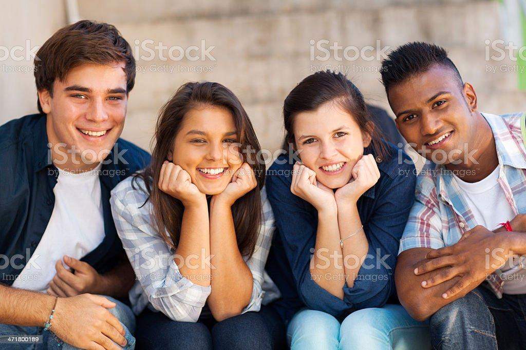 portrait of happy students royalty-free stock photo