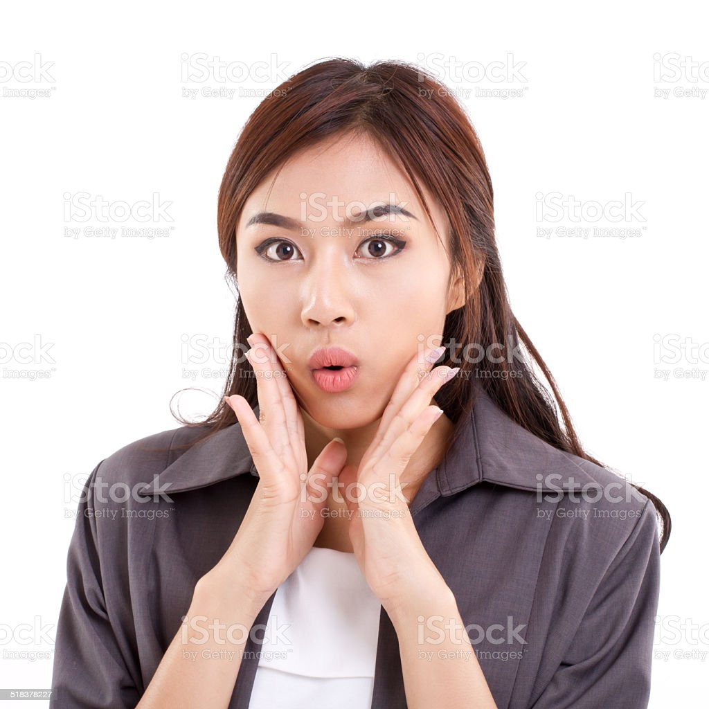 portrait of happy, surprised, exited, positive business woman stock photo