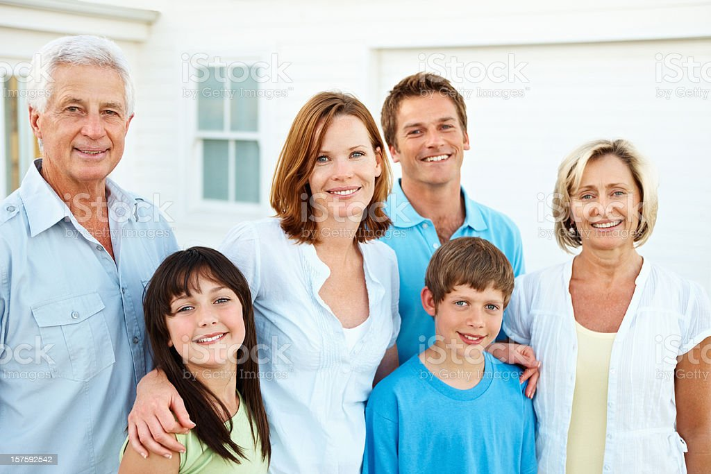 Portrait of happy three generational family royalty-free stock photo